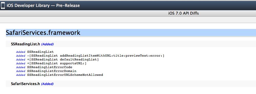 List of API in iOS Safari Services Framework