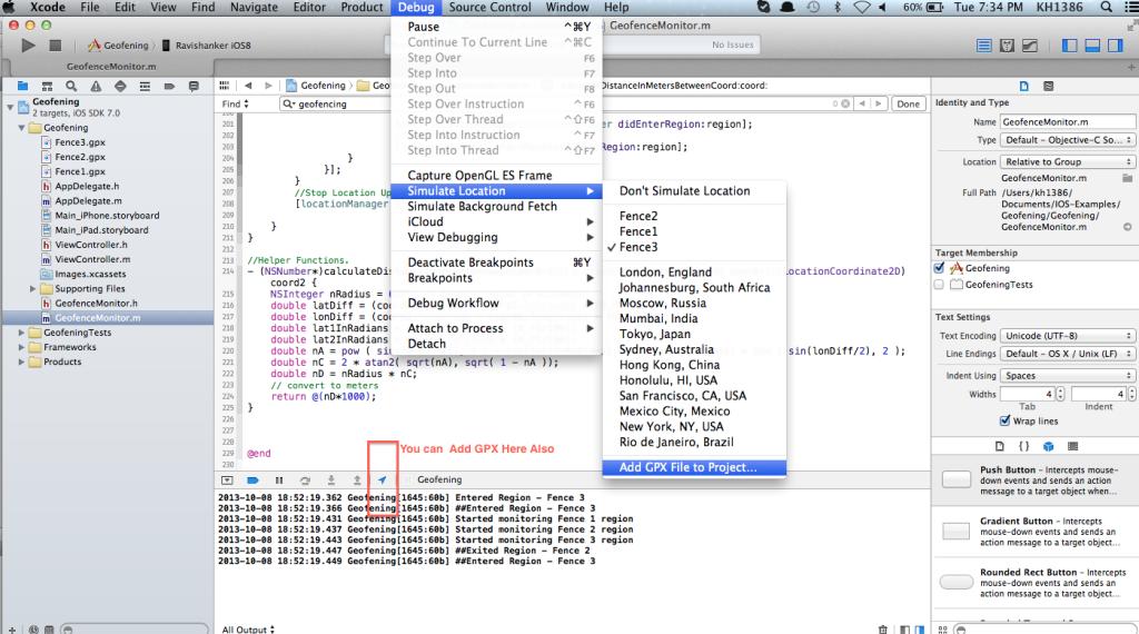 iOS Geofencing API Simulation