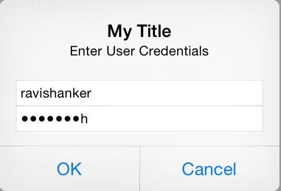 UIAlertControler Username Passwrod